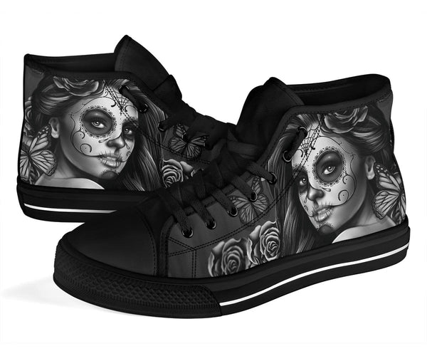 Calavera Silver - High Top Canvas Shoes