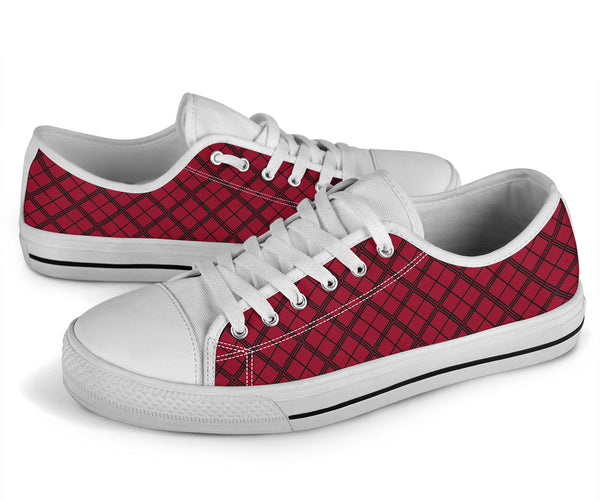 Squared Checker (Jester Red) - Low Top Canvas Shoes