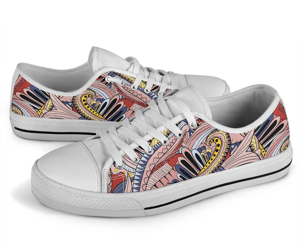 Funky Patterns (Pink) - Low Top Canvas Shoes