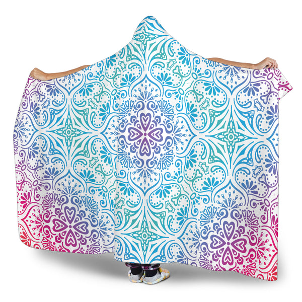 Bohemian Blue Ombre (White) - Hooded Blankets