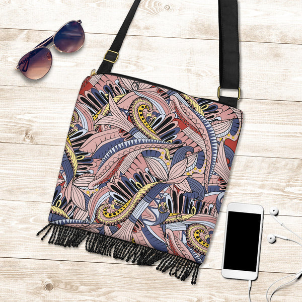 Funky Patterns in Pink - Crossbody Boho Bag