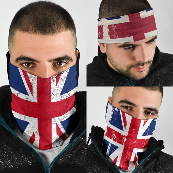 Grunge Union Jacks (Black, White, Grey) - Bandana 3 Pack