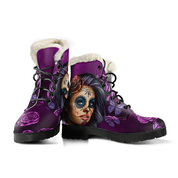 Violet Calavera - Vegan Fur Leather Boots