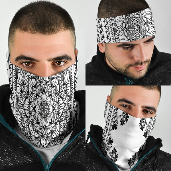 White & Black Scarves Set - Bandana 3 Pack