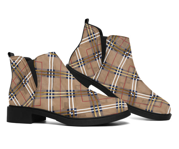 Autumn Fall Plaid - Suede Boots