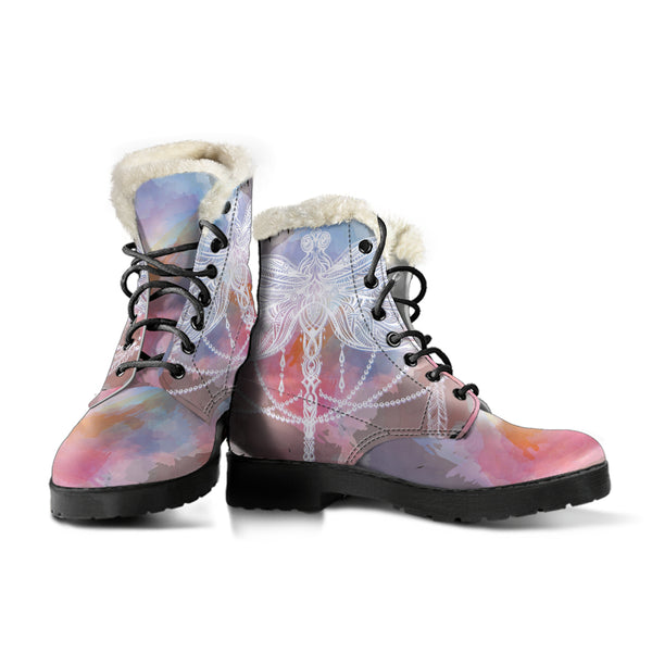 Watercolor Dragonfly Mandala P3 - Faux Fur Leather Boots, SHOES, MCB Buys