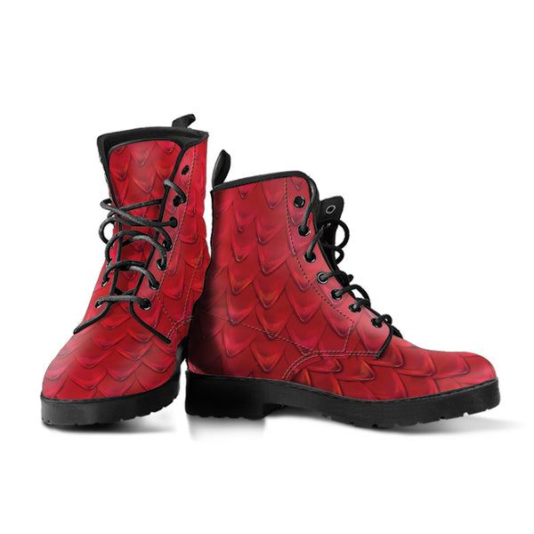 Fantasy Dragon Scales (Red) - Vegan Leather Boots