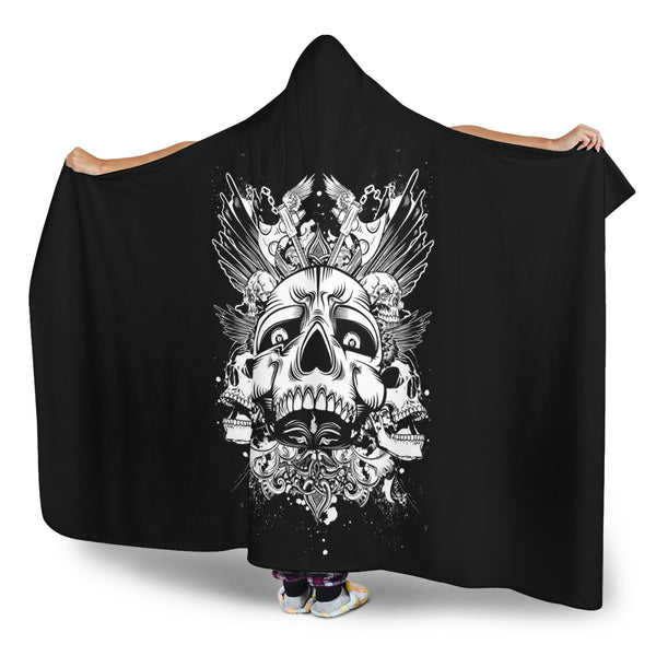 Skull Cluster (Black) - Hooded Blankets