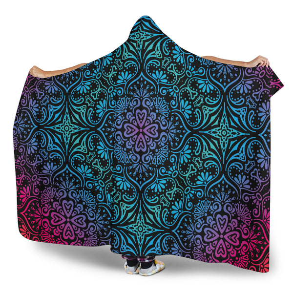 Bohemian Blue Ombre (Black) - Hooded Blankets