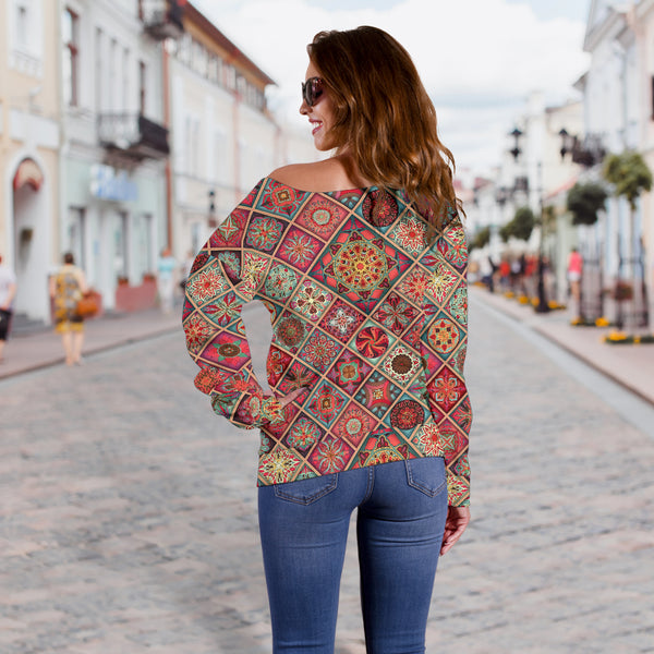 Diamond Mandala P3 - Women's Off Shoulder Sweater