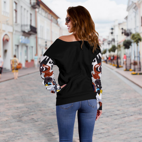 Street Art CB229357 Sleeve Black - Women's Off Shoulder Sweater