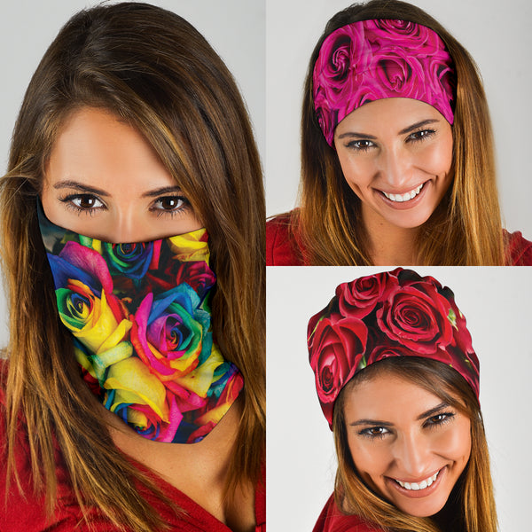 Roses (Red, Pink, Rainbow) - Bandana 3 Pack