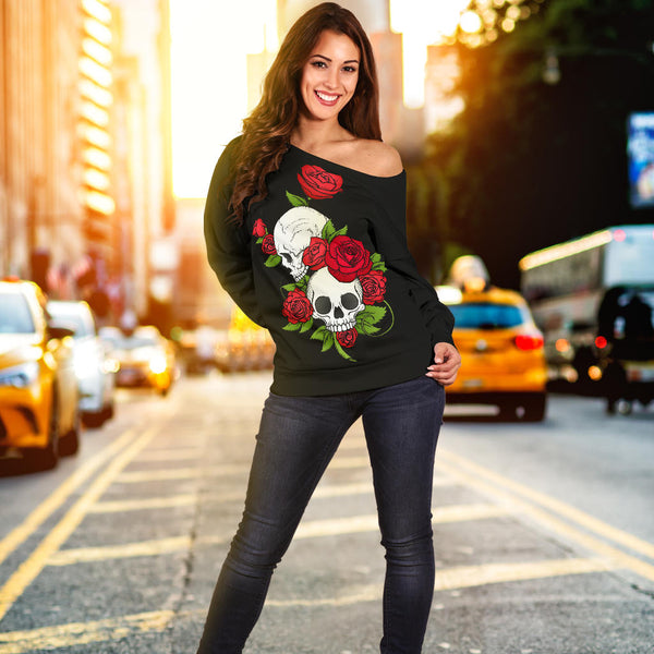 Skull Couple Roses (Black) - Women's Off Shoulder Sweater