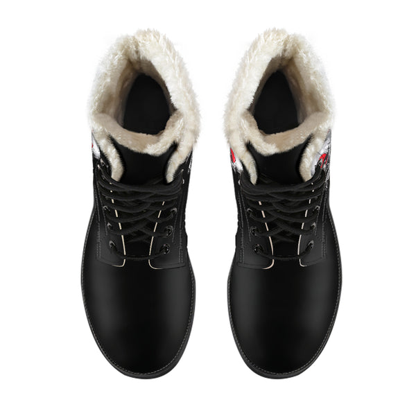 Clown Skull (Black) - Vegan Fur Leather Boots