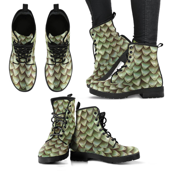 Fantasy Dragon Scales (Pebble) - Vegan Leather Boots