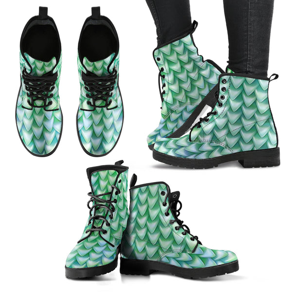Fantasy Dragon Scales (Cyan) - Vegan Leather Boots