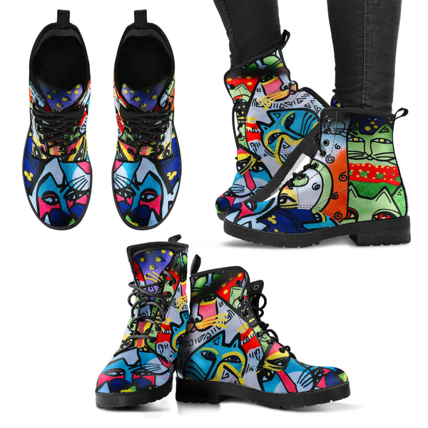 Street Art Cats MB32472 - Vegan Leather Boots
