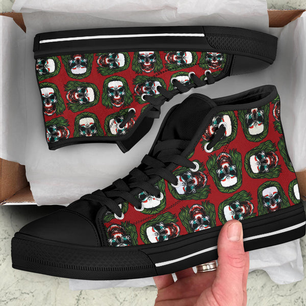 Joker Skull (Red) - High Top Canvas Shoes