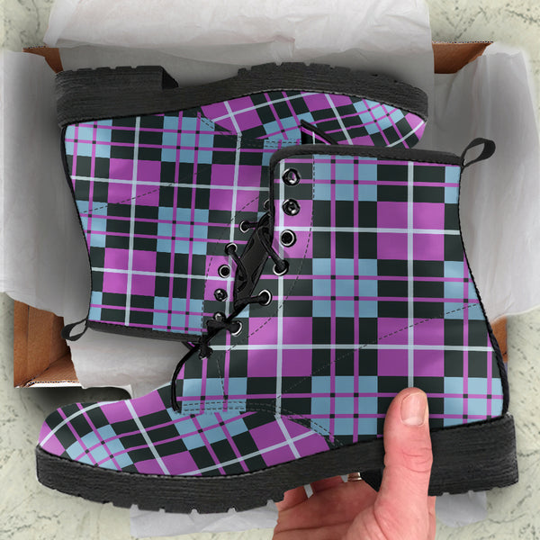 Tartan Blue & Purple P3 - Vegan Leather Boots