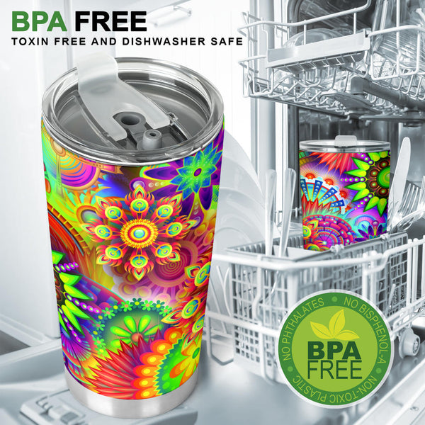 Abstract Bright Floral - Travel Tumbler