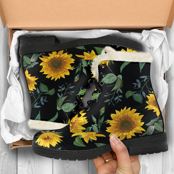 Sunflower Fields (Black) - Vegan Fur Leather Boots