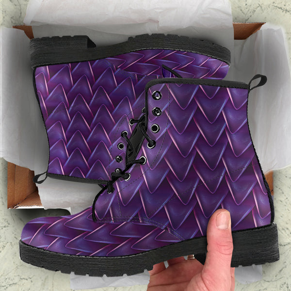 Fantasy Dragon Scales (Purple) - Vegan Leather Boots
