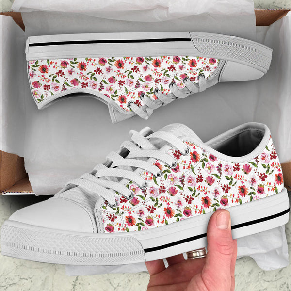 Floral Blush Pastel Roses Peonies - Low Top Canvas Shoes