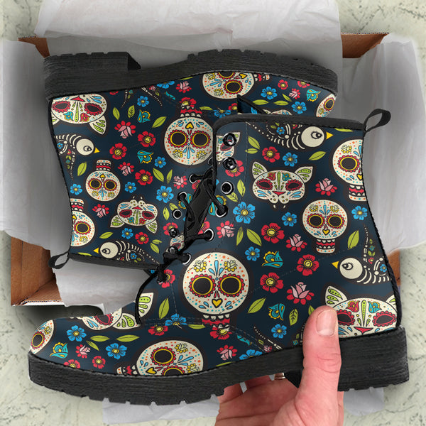 Day of the Dead Kitty Cats P1 - Vegan Leather Boots
