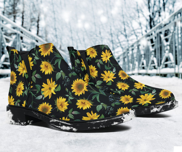 Sunflower Fields (Black) - Suede Boots
