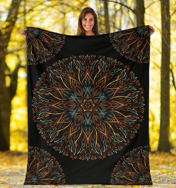 Mandala P1 (Black) - Throw Blankets