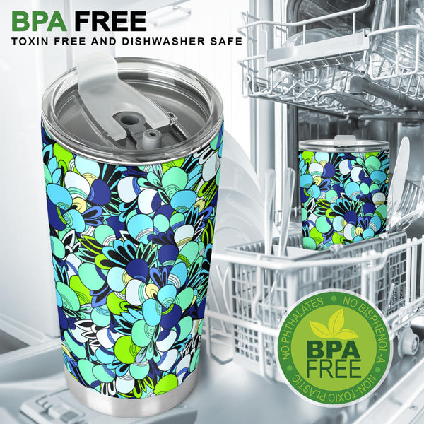 Funky Patterns in Blues - Travel Tumbler