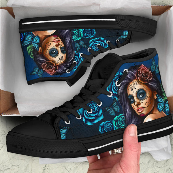 Calavera Turquoise - High Top Canvas Shoes
