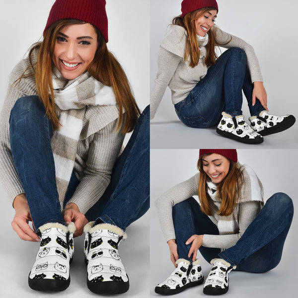 Kitty Cats Black & White P1 - Winter Ankle Casuals