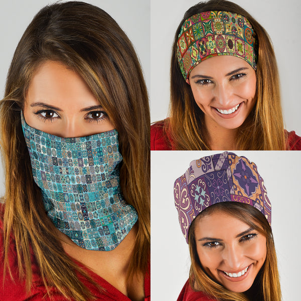 Square Mandalas Mix 4 - Bandana 3 Pack