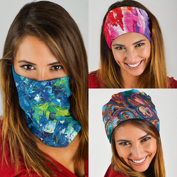 Abstract Oil Paintings Set - Bandana 3 Pack