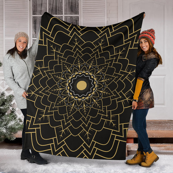 Mandala P2 (Black) - Throw Blankets