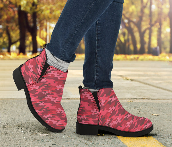 Red Camouflage - Suede Boots