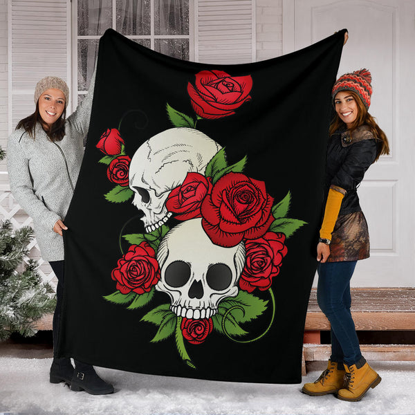 Skull Couple Roses (Black) - Throw Blankets