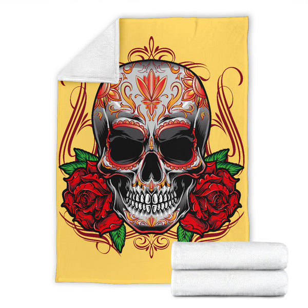 Sugar Skull Roses (Aspen Gold) - Throw Blankets