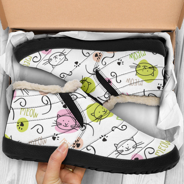 Kitty Cats Meow (White) - Winter Ankle Casuals