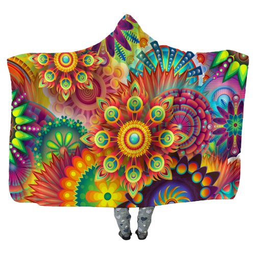 Abstract Bright Floral - Hooded Blankets