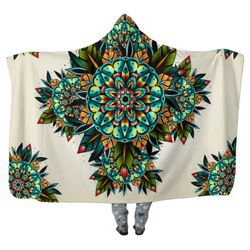 Tattoo Kaleidoscope Mandala - Hooded Blankets