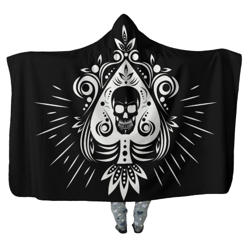 Skull Tattoo on Black - Hooded Blankets