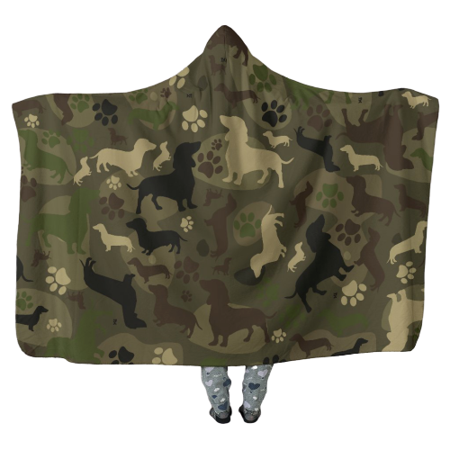 Dachshund in Camo - Hooded Blankets