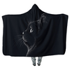 Black Cat at Night P1 - Hooded Blankets