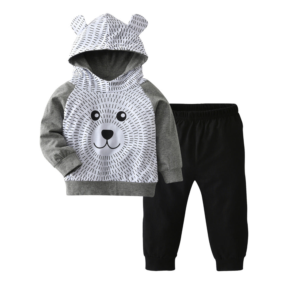 08f83f7f Autumn Baby Clothes Cute Bear Hoodie Set