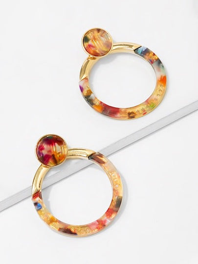Candy Color Gold Hoops
