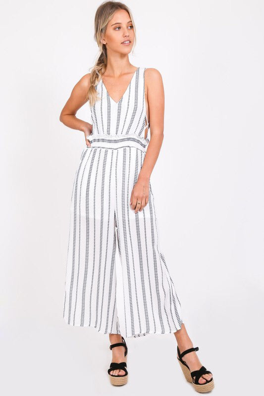 White Stripe Jumpsuit