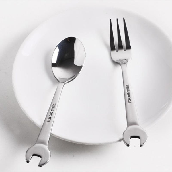 1PC Creative Wrench Shape Tableware Home Kitchen Stainless Steel Fork - Browser-buy.com