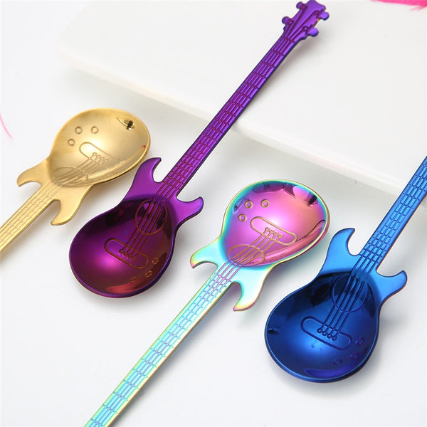 1Pcs Stainless Steel Cartoon guitar Spoon Creative Milk Coffee Spoon - Browser-buy.com